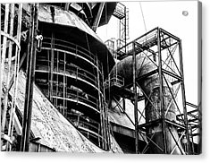 Steel Mill In Black And White - Bethlehem Acrylic Print by Bill Cannon