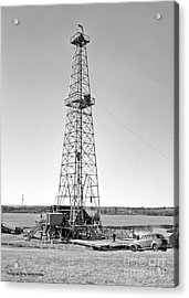 Steel Oil Derrick Acrylic Print by Larry Keahey