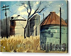 Acrylic Print featuring the painting Steel Silos In A Field Matted Glassed Framed by Charlie Spear