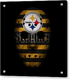 Steelers War Mask 2 Acrylic Print by Joe Hamilton