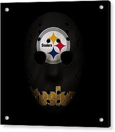 Steelers War Mask Acrylic Print by Joe Hamilton