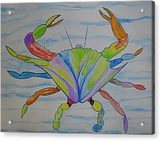 Acrylic Print featuring the painting Stella The Crab by Erika Swartzkopf