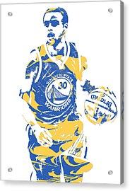 Stephen Curry Golden State Warriors Pixel Art 21 Acrylic Print