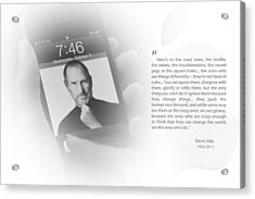Steve Jobs 1 Acrylic Print by Anthony Rego