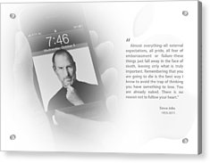 Steve Jobs 3 Acrylic Print by Anthony Rego
