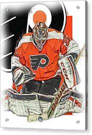 Steve Mason Philadelphia Flyers Oil Art Acrylic Print by Joe Hamilton