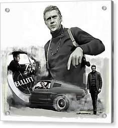 Acrylic Print featuring the painting Steve Mcqueen Bullitt Mcqueen  by Iconic Images Art Gallery David Pucciarelli