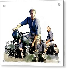 Steve Mcqueen  Captain Hilts Great Escape Acrylic Print by Iconic Images Art Gallery David Pucciarelli