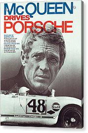 Steve Mcqueen Drives Porsche Acrylic Print