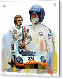 Steve Mcqueen Driving Force Acrylic Print by Iconic Images Art Gallery David Pucciarelli