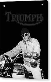Steve Mcqueen Triumph Acrylic Print by Mark Rogan