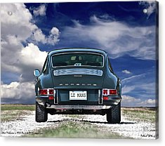 Steve Mcqueen's 1970 Porsche 911s From Opening Scene Of The Movie Le Mans Acrylic Print by Thomas Pollart