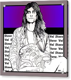 Acrylic Print featuring the mixed media Steve Vai Sitting by Curtiss Shaffer