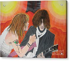 Acrylic Print featuring the painting Steven Tyler And Joe Perry Painting by Jeepee Aero