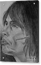 Acrylic Print featuring the drawing Steven Tyler Portrait Drawing Image Picture by Jeepee Aero
