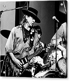 Acrylic Print featuring the photograph Stevie Ray Vaughan 3 1984 Bw by Chris Walter