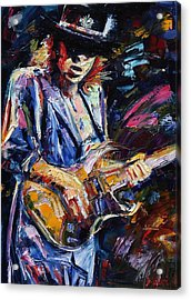 Stevie Ray Vaughan Acrylic Print by Debra Hurd