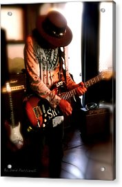 Acrylic Print featuring the photograph Stevie Ray Vaughan Reflections   by Iconic Images Art Gallery David Pucciarelli