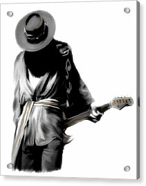 Stevie Ray Vaughan Shadowing Soul Acrylic Print by Iconic Images Art Gallery David Pucciarelli
