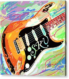 Stevie Ray Vaughan Stratocaster Acrylic Print by David Lloyd Glover