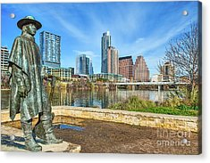 Stevie Ray Vaughn Statue Acrylic Print by Tod and Cynthia Grubbs