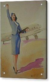 Stewardess And Dc3 Acrylic Print