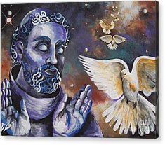 St.francis And The Birds Acrylic Print by Olivia Candille