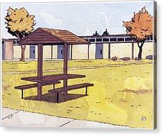 Sticker Landscape 1 Schoolyard Acrylic Print by Karl Frey