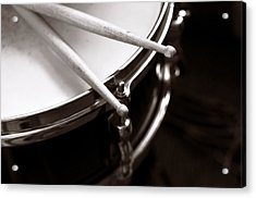 Sticks On Snare Drum Acrylic Print by Rebecca Brittain