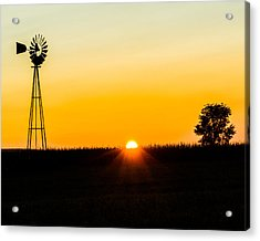 Still Country Sunset Silhouette Acrylic Print by Chris Bordeleau