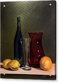 Still Life With Bottle, Vases And Fruit Acrylic Print