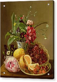 Still Life Acrylic Print by Albertus Steenberghen