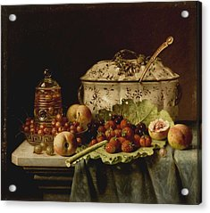 Still Life  Fruit And Dishes  Late 19th Century Oil On Panel Gottfried Schultz  German  1842  1919 Acrylic Print