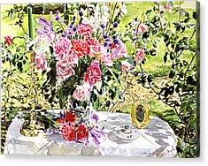 Still Life In The Artist's Garden Acrylic Print by David Lloyd Glover
