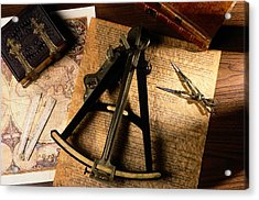 Still Life Of Charts, Books Acrylic Print by Todd Gipstein