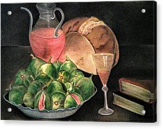 Still Life Of Figs, Wine, Bread And Books Acrylic Print