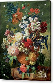Still Life Of Flowers And A Bird's Nest On A Pedestal  Acrylic Print