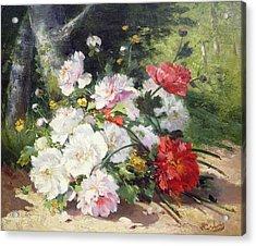 Still Life Of Flowers Acrylic Print by Eugene Henri Cauchois