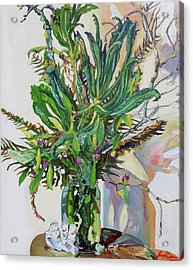 Still Life Of Kale, Fallen Twigs And Other Things That Survived The Storm Acrylic Print by Joseph Demaree