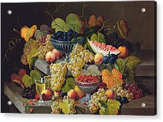 Still Life Of Melon Plums Grapes Cherries Strawberries On Stone Ledge Acrylic Print by Severin Roesen