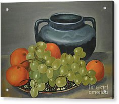 Still Life Of Oranges And Grapes Acrylic Print by Margit Armbrust