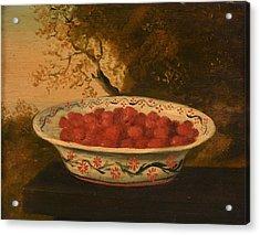 Still Life Of Raspberries In A Lowestoft Bowl Acrylic Print by James Sillett