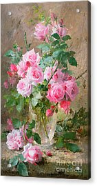 Still Life Of Roses In A Glass Vase  Acrylic Print