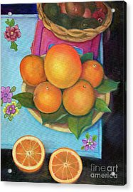 Still Life Oranges And Grapefruit Acrylic Print by Marlene Book