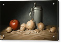Still Life Painting With Onions Acrylic Print by Eric Bossik