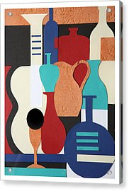 Still Life Paper Collage Of Wine Glasses Bottles And Musical Instruments Acrylic Print by Mal Bray