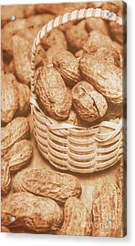 Still Life Peanuts In Small Wicker Basket On Table Acrylic Print by Jorgo Photography - Wall Art Gallery
