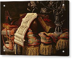 Still Life With A Book Of Sheet Music Acrylic Print by Francesco Fieravino