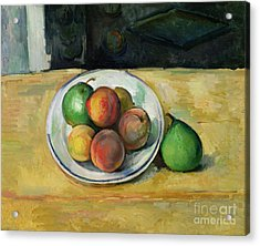 Still Life With A Peach And Two Green Pears Acrylic Print