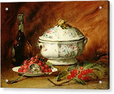 Still Life With A Soup Tureen Acrylic Print by Guillaume Romain Fouace